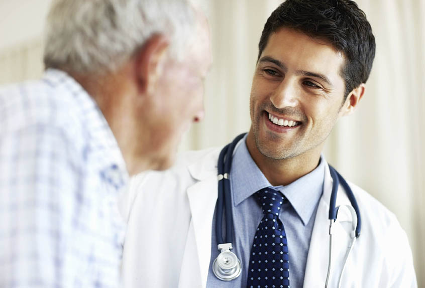 doctor happy to see patient