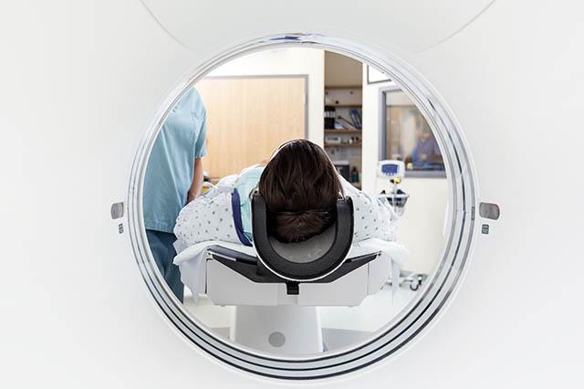 person getting an MRI test